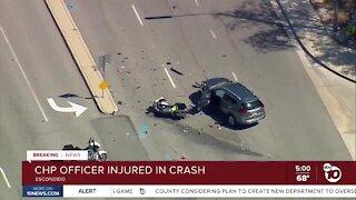 CHP officer injured in Escondido crash