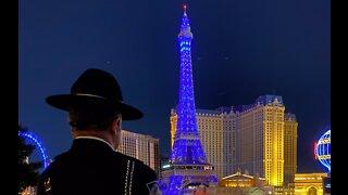Las Vegas Strip turns blue for fallen Nevada sergeant