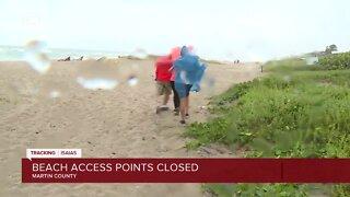 Heavy rain, wind on Stuart Beach