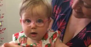 Baby's priceless reaction at getting first pair glasses