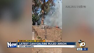 City Heights canyon fire ruled arson