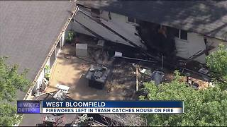 Used fireworks ignite fire at West Bloomfield home causing major damage