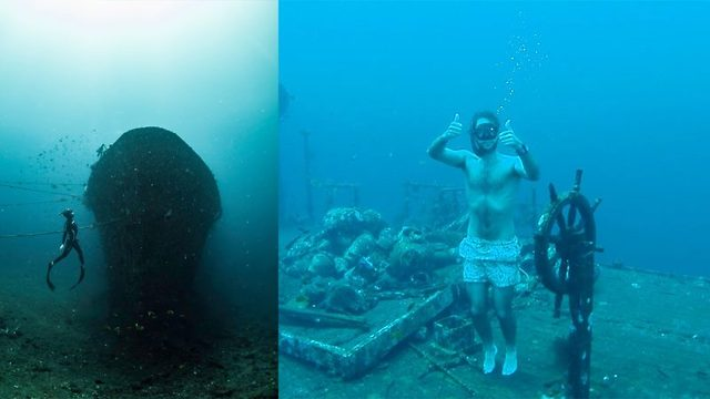Her poserer han på havets bunn uten oksygen