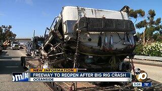 Freeway to reopen after big rig crash