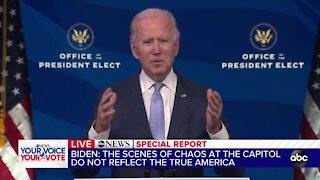 President-elect Joe Biden delivers remarks after protesters storm Capitol
