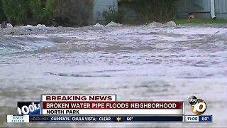 Water main break floods North Park Streets