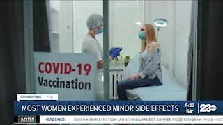 Most women experience minor side effects from COVID vaccine