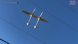 World's largest plane takes off from Mojave