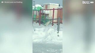 L'abominable bonhomme de neige, observé sur une balançoire