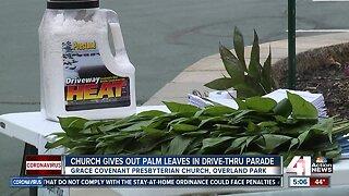 Church distributes palm leaves in drive-thru parade