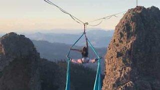 Aerial silk acrobatics at dizzying heights!