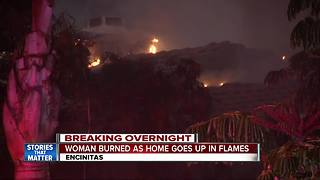 Woman escapes from burning Encinitas home