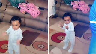 Little girl can't stop dancing to her favorite song