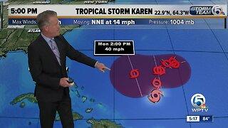 5 p.m. update on Tropical Storm Karen