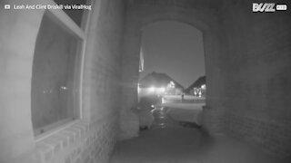 Doorbell camera captures lightning strike hitting home