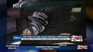 Getting ice off frozen windshield