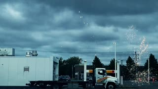 Lightning strike near the gas station