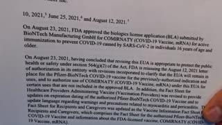 FDA Lied--Vax Not Approved Still Experimental