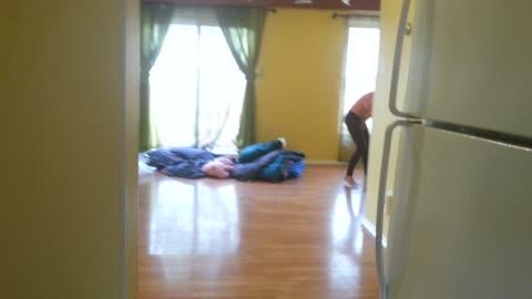 Hidden camera get beautiful Thai wife dancing to herself