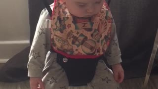 Tired Baby Falls Asleep While Strapped In Baby Jumper