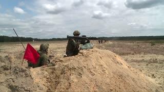 Soldier doing live amuniation training