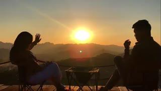 Drinking tea watching the sunset