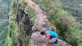 Daring Handstand on Cliff in Hawaii