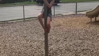 Climbing a Square Pole