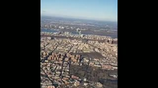 View of Manhattan ny from window plane