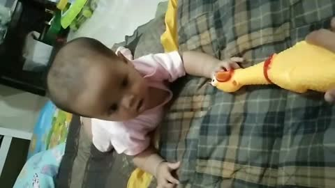 Baby and yellow Chicken