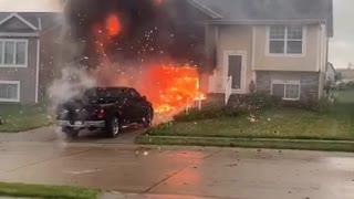 Impromptu Fireworks Display destroys House