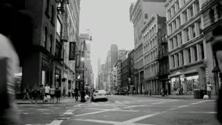 Black & White Busy Street