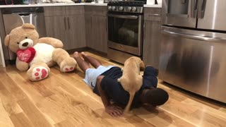 Puppy Helps With Workout Routine