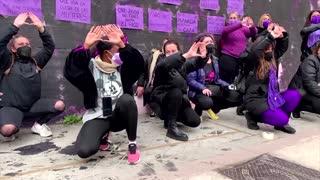 Madrid women restore vandalised feminist mural