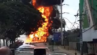 Explosion , truck fluid inflamed