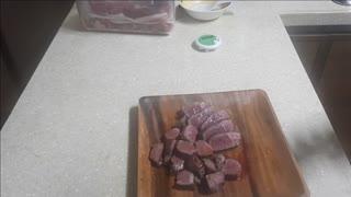 Chopping steak