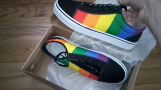 from Freaky Shoes Presents High Quality Fashion Skater Sneakers Pride Flag Colors