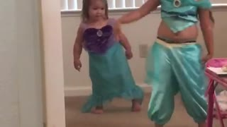 Sisters dance to Under the sea