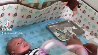 Video of baby son getting vaccinated