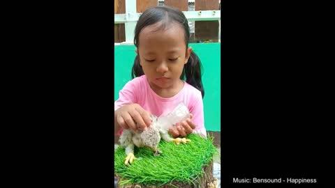 Adorable Toddler Feeds An Eagle Baby