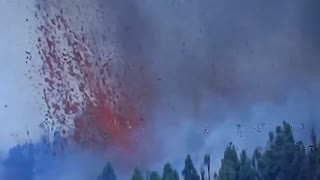 Volcanic eruption on Canary Island of La Palma in Spain