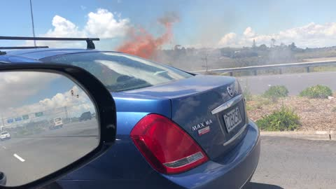 Fire on the main highway (Cigarette butt fire)