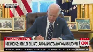 Biden Signs $1.9T Stimulus Bill, Flees Room as Reporters Shout Questions