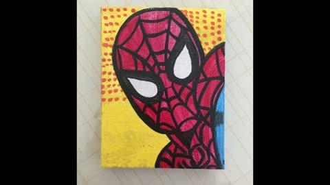 Tiny spiderman painting