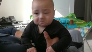 Baby gets emotional over dad's specific sound