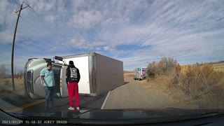 Box Truck Tips Over During Turn