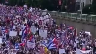 Cuban protesters march towards the White House