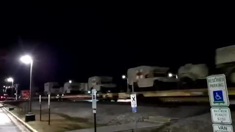 177 military vehicles passing through Acworth, Georgia last night.