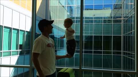 Baby displays impressive balancing skills