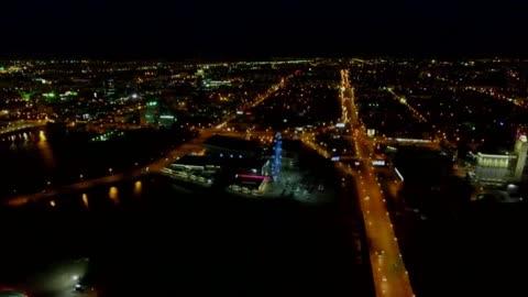 Sky Fly City At Night